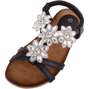 Children's Summer Sandals / Shoes with Floral Diamonte Pattern