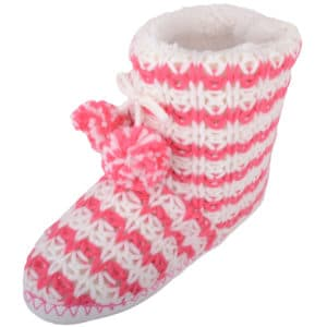 Women's Knitted Style Bootie Slippers with Pom Pom Design