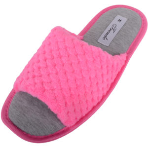 Women's Soft Fleece Open Toe Slippers