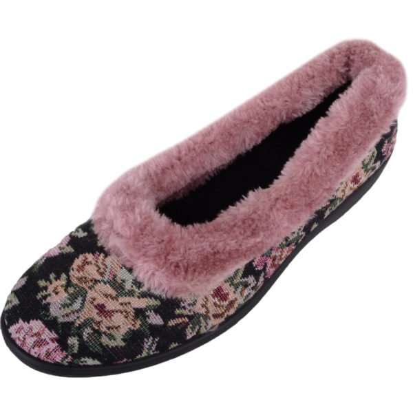 Women's Slip On Style Floral Slippers with Warm Fur Lining