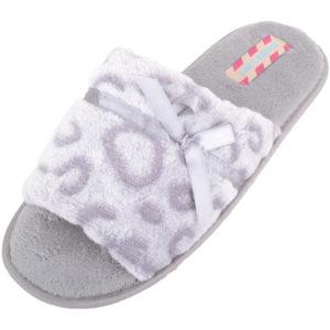 Women's Open Toe Faux Fur Slip On Slippers