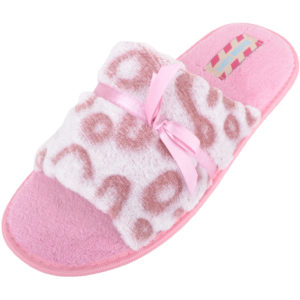 Women's Open Toe Faux Fur Slip On Slippers