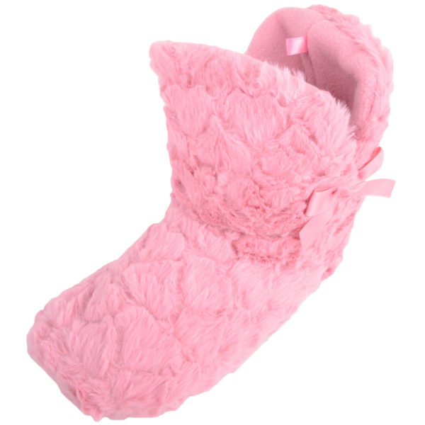 Women's Faux Fur Slip On Bootie Slippers with Bow