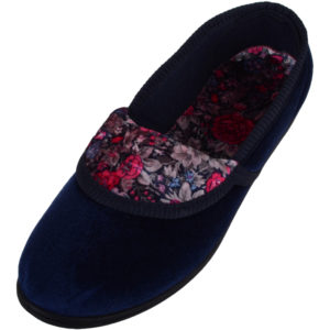 Women's Soft Velour Style Slip On Slippers with Floral Design