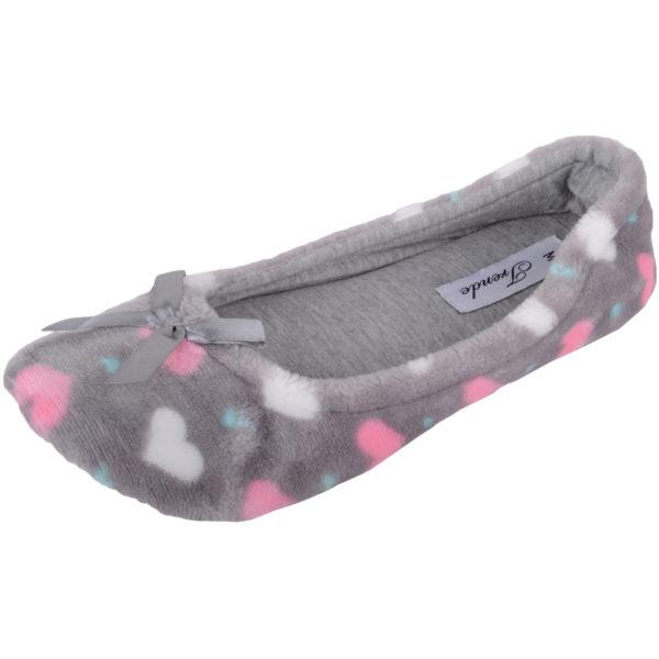 Women's Slip On Ballerina Style Slippers with Heart Design