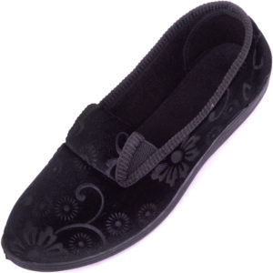 Women's Smooth Velour Style Slippers with Floral Design