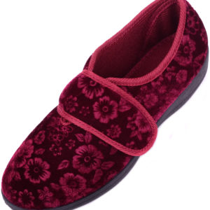 Women's Velvet Style Slippers with Ripper Fastening