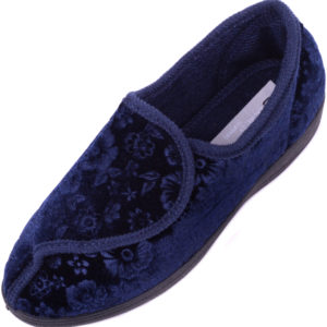 Women's Velour Style Slippers / Indoor Shoes with Ripper Fastening