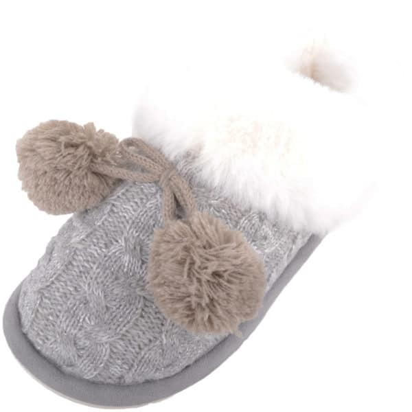 Women's Evelyn Knitted Style Mule Slipper with Pom Poms - Grey