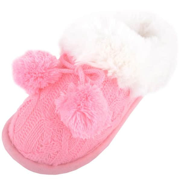 Women's Evelyn Knitted Style Mule Slipper with Pom Poms - Pink