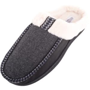 Men's Oliver Mule Slipper with Faux Fur and Stripe Design - Black