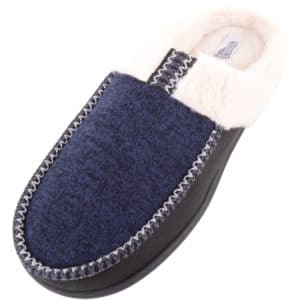 Men's Oliver Mule Slipper with Faux Fur and Stripe Design - Navy